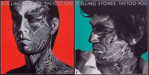 "The Glimmer Twins (Jagger e Richards) - Frente e verso da capa de ""Tattoo You"""