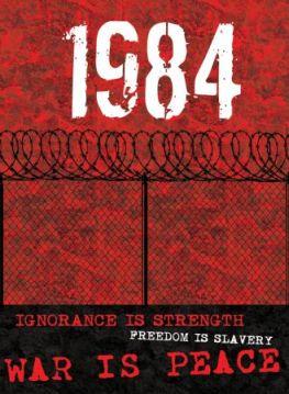 """Capa de edição do livro com as 3 máximas do partido dominante: """"Ignorância é força"""", """"Liberdade é escravidão"""" e """"Guerra é paz"""""""