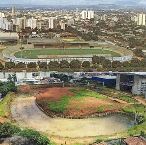 Estádio Olímpico de Goiânia: antes (acima) e depois (abaixo)