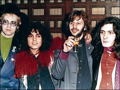 Elton John, Marc Bolan, Ringo Starr e Mickey Finn