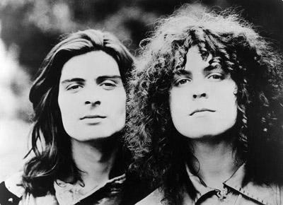 O percussionista e amigo Mickey Finn e Marc Bolan