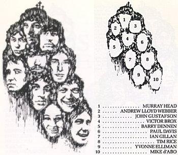 Encarte do álbum com os cantores/personagens