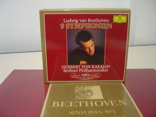 A integral das sinfonias de Beethoven com Hebert von Karajan, gravações de 1963, em CD e o LP da 7ª
